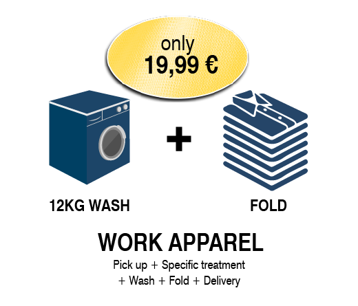 Laundry and cleaning service for work apparel in Seville - The best prices in laundry and cleaning service for work apparel in Seville - Wash and fold of up to 12 kg of work apparel